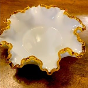 Lovely white Candy Dish glass with gold trim